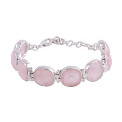 Rose quartz link bracelet, 'Pink Allure' - Rose Quartz and Sterling Silver Link Bracelet from India