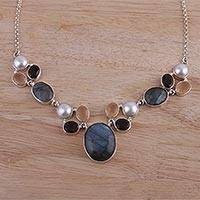 Multi-gemstone pendant necklace, 'Entrancing Dusk' - Dark Multi-Gemstone Pendant Necklace from India