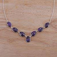 Sterling silver pendant necklace, 'Regal Dream' - Sterling Silver and Purple Turquoise Necklace from India