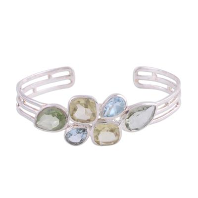 Multi-gemstone cuff bracelet, 'Glittering Charm' - Multi-Gemstone and Silver Cuff Bracelet from India