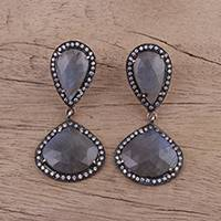 Labradorite dangle earrings, 'Natural Tradition' - Labradorite and Sterling Silver Dangle Earrings from India