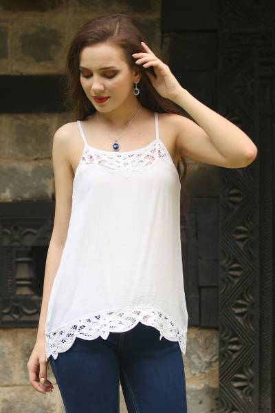 Rayon camisole top, 'Floral Paradise' - White Rayon Lace Trimmed Camisole Top with Adjustable Straps