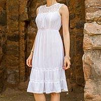 Rayon dress, 'Eternal White' - Long White Sleeveless Rayon Dress from India
