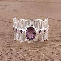 Rhodium plated amethyst cocktail ring, 'Picket Fences' - Rhodium Plated Amethyst Cocktail Ring from India