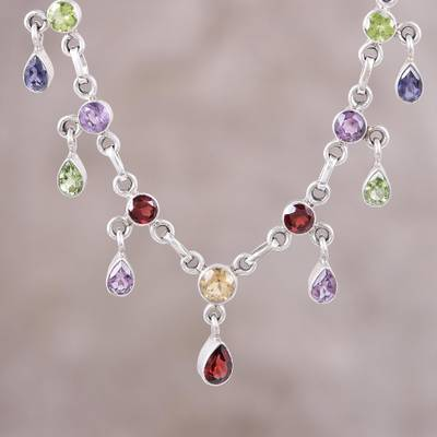 Multi-gemstone pendant necklace, 'Festive Drops' - Multi-Gemstone Link Pendant Necklace from India