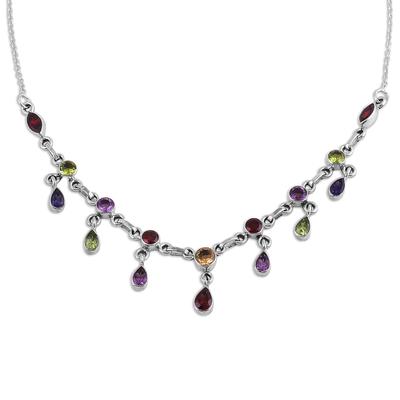 Multi-gemstone pendant necklace, 'Festive Drops' - Multi-Gemstone Link Pendant Necklace from India