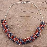 Carnelian and lapis lazuli beaded necklace, 'Bubble Blast' - Carnelian and Lapis Lazuli Beaded Necklace from India
