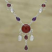 Multi-gemstone pendant necklace, 'Marvelous Fire'