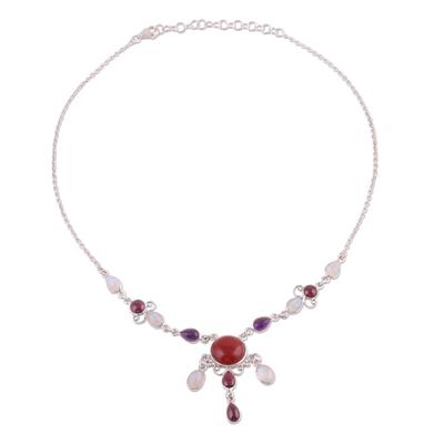 Multi-gemstone pendant necklace, 'Marvelous Fire' - Elegant Multi-Gemstone Pendant Necklace from India