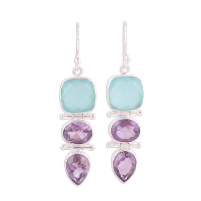 Amethyst and chalcedony dangle earrings, 'Glittering Muse' - Amethyst and Chalcedony Dangle Earrings from India