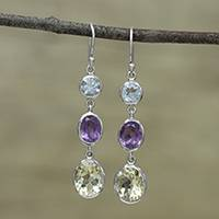 Multi-gemstone dangle earrings, 'Glittering Trio' - Multi-Gemstone and Silver Dangle Earrings from India