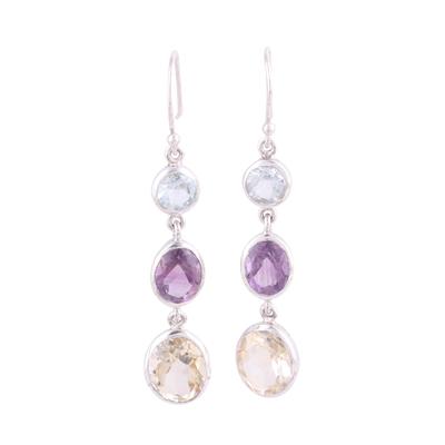 Multi-gemstone dangle earrings, 'Glittering Trio' - Multi-Gemstone and Silver Dangle Earrings from India