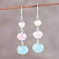 Multi-gemstone dangle earrings, 'Lovely Trio' - Chalcedony Rose Quartz and Pearl Earrings from India