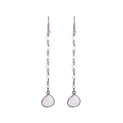 Rainbow moonstone dangle earrings, 'Morning Drops' - Rainbow Moonstone Teardrop Dangle Earrings from India