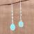 Chalcedony dangle earrings, 'Raining Drops' - Chalcedony Multi-Stone Dangle Earrings from India (image 2) thumbail
