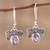 Amethyst dangle earrings, 'Busy Butterflies' - Amethyst Butterfly Dangle Earrings from India (image 2) thumbail