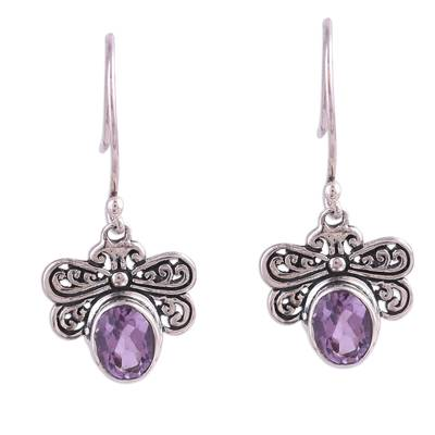 Amethyst dangle earrings, 'Busy Butterflies' - Amethyst Butterfly Dangle Earrings from India