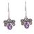 Amethyst dangle earrings, 'Busy Butterflies' - Amethyst Butterfly Dangle Earrings from India thumbail