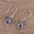 Amethyst dangle earrings, 'Busy Butterflies' - Amethyst Butterfly Dangle Earrings from India (image 2b) thumbail