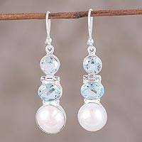 Blue topaz and cultured pearl dangle earrings, 'Dance in the Clouds' - Blue Topaz and Cultured Pearl Dangle Earrings from India