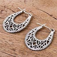 Sterling silver hoop earrings, 'Delightful Vines' - Sterling Silver Vine Motif Hoop Earrings from India