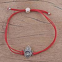 Sterling silver pendant bracelet, 'Jali Hamsa in Red' - Adjustable Sterling Silver Hamsa Pendant Bracelet from India