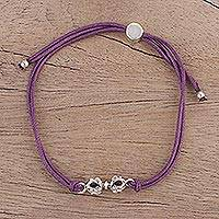 Sterling silver pendant bracelet, 'Vajra in Purple' - Adjustable Sterling Silver Pendant Bracelet from India