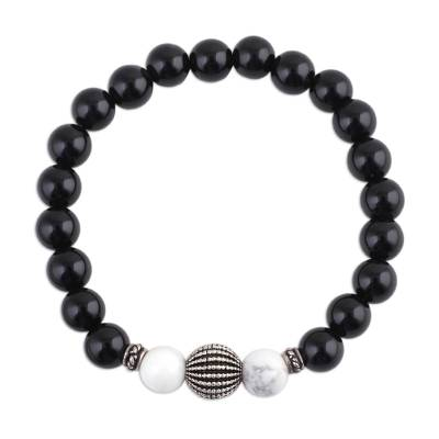 Onyx and Howlite Beaded Stretch Bracelet from India
