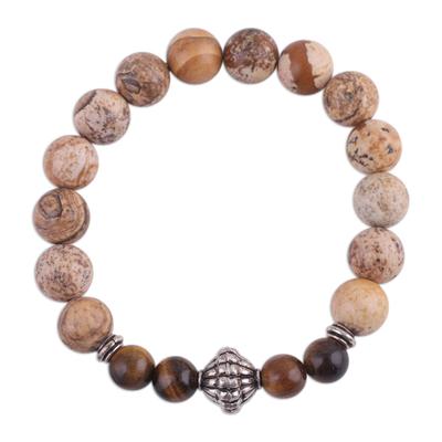 Jasper and tiger's eye beaded stretch bracelet, 'Flavors of the Earth' - Jasper and Tiger's Eye Beaded Stretch Bracelet from India