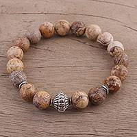 Jasper beaded stretch bracelet, 'Earthy Delight' - Speckled Jasper Sterling Silver Beaded Stretch Bracelet