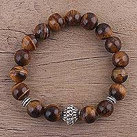 Tiger's eye beaded stretch bracelet, 'Earthen Kiss' - Natural Tiger's Eye Beaded Stretch Bracelet from India