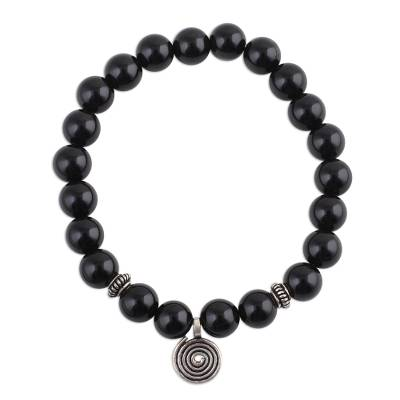 Onyx and Silver Beaded Stretch Bracelet from India