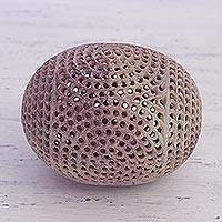 Soapstone sculpture, 'Delightful Egg' - Handcrafted Jali Soapstone Egg Sculpture from India