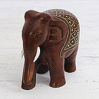 Wood figurine, 'Regal Elephant' - Brass Inlaid Wood Elephant Figurine from India