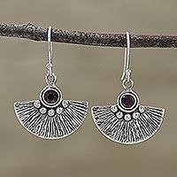Garnet dangle earrings, 'Royal Fan' - Garnet and Sterling Silver Dangle Earrings from India