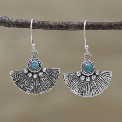 Sterling silver dangle earrings, 'Alluring Fan' - Composite Turquoise and Sterling Silver Dangle Earrings