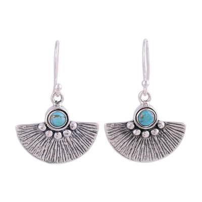 Composite Turquoise and Sterling Silver Dangle Earrings