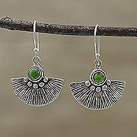 Sterling silver dangle earrings, 'Dazzling Fan' - Composite Turquoise and Sterling Silver Dangle Earrings