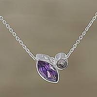 Amethyst pendant necklace, 'Royal Dazzle' - Amethyst and Cubic Zirconia Pendant Necklace from India