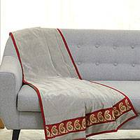 Silk throw, 'Paisley Allure in Pearl Grey' - Paisley Motif Silk Throw Blanket in Pearl Grey from India