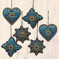 Embroidered holiday ornaments, 'Teal Fusion' (set of 6) - Teal and Gold Embroidered and Beaded Ornaments (Set of 6)