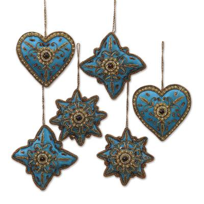 embroidered holiday ornaments teal fusion set of 6 teal and - Teal Christmas Ornaments