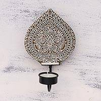 Wood tealight holder sconce, 'Floral Illumination' - Floral Rohida Wood Wall Tealight Sconce from India