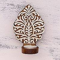 Wood tealight holder sconce, 'Leafy Muse' - Hand-Carved Rohida Wood Tealight Sconce from India