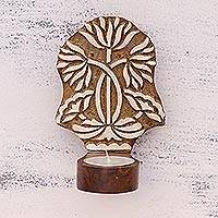 Wood tealight holder, 'Harmonious Flowers' - Handcrafted Floral Rohida Wood Tealight Holder from India