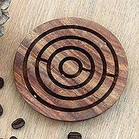 Wood maze game, 'Smooth Operator' - Handcrafted Acacia Wood Maze Game from India