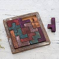 Wood puzzle, 'Colorful Challenge' - Handcrafted Colorful Wood Puzzle from India