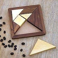 Wood puzzle, 'Geometric Muse' - Handcrafted Geometric Wood Puzzle from India