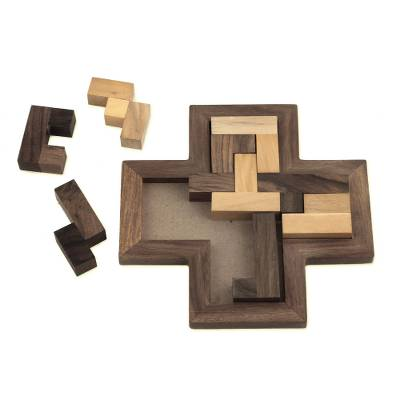 Wood puzzle, 'Cross Challenge' - Cross-Shaped Acacia and Haldu Wood Puzzle from India