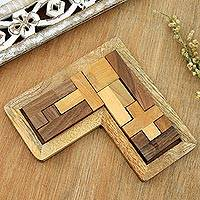 Wood puzzle, 'Angled Challenge' - L-Shaped Acacia and Haldu Wood Puzzle from India